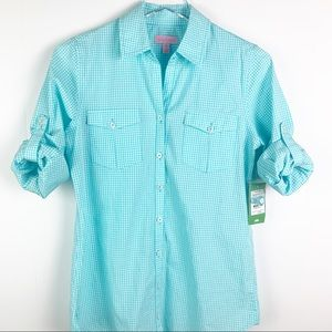 Lilly Pulitzer Eliot Shore Blue Gingham Shirt XS